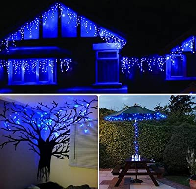 KAPATA LED Christmas Lights Icicle In Waves 4Meter(13FT)96leds With 8 Lighting Mode Suitable Indoor and Outdoor String Lights(Cool White,US Plug)