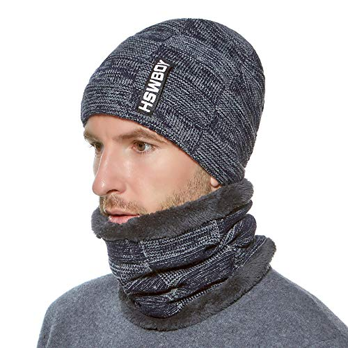 Winter Men Beanie Hat + Scarf with Warm Fleece Lined 2 Pieces Winter Warm Clothing Set for Men from B.J.