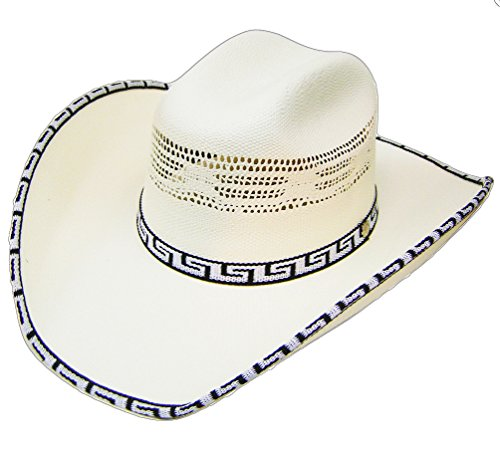 Modestone Bangora Rodeo Straw Cowboy Hat Pattern Fabric Hatband/Brim Edge White