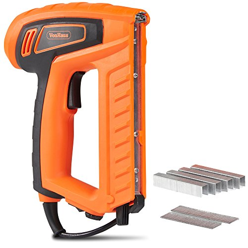 VonHaus 18-Gauge 2 In 1 Electric Brad Nailer and Stapler Gun Kit - Includes 400 Crown Staples and 100 Nails Suitable For Fabrics