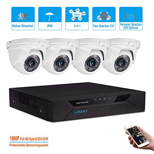 LONNKY 8CH Full 1080P 5-in-1 DVR Security System with 4PCs HD Analog TVI Dome Outdoor 2.0MP Cameras, with 80ft Clear Night Vision Cameras, Intelligent Face Detection & Motion Detection, NO HDD, White