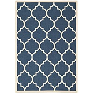 Safavieh Courtyard Collection CY6914-268 Navy and Beige Indoor/ Outdoor Area Rug (4