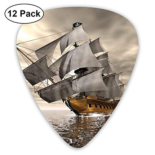 Celluloid Guitar Picks - 12 Pack,Abstract Art Colorful Designs,3D Style Pirate Ship Sea Historic Vessel Cloudy Sky Voyage Exploration Theme,For Bass Electric & Acoustic Guitars. ()
