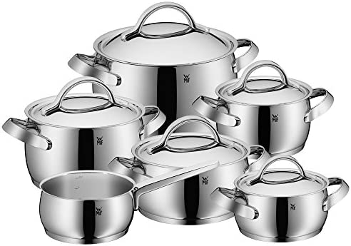WMF Concento pannenset 6delig Cromargan roestvrij staal gepolijst potten met metalen deksel pan inductie schaalverdeling aan de binnenkant stoomopening ongecoat