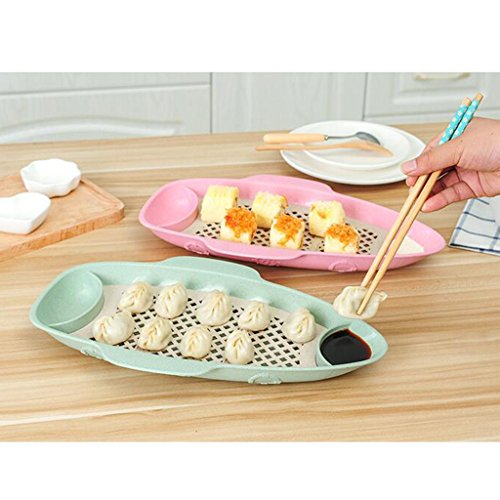 Wall of Dragon Fish Shaped Drain Tray Serving Dish Kitchen Plate Dumpling Blue Green by Wall of Dragon