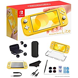 """Newest Nintendo Switch Lite - Yellow Game Console, 5.5"""" LCD Touch 1280x720 Screen, Built-in +Control Pad, WiFi, Bluetooth with GalliumPi 10-in-1 Bundle"""