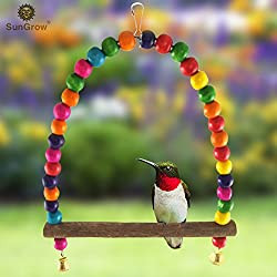 Hummingbird Swing Perch by SunGrow - Wooden Dowel makes for perfect resting spot - Allows birds to watch and guard their food source - Attractive colorful beads adds charming accent to Garden