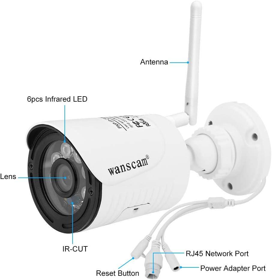 Hdliang Inal/ámbrico WiFi 1080P HD C/ámara IP Red al Aire Libre Visi/ón Nocturna 2MP 4X D/ígitos Zoom Detecci/ón de Movimiento C/ámara de vigilancia de Seguridad a Prueba de Agua IP66 Wanscam K22