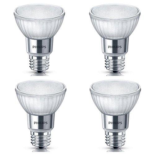 Philips LED 471169 50 Watt Equivalent Classic Glass PAR20 Dimmable LED Flood Light Bulb (4 Pack), 4-Pack, Bright White, 4 Piece (Philips Par20 Led)