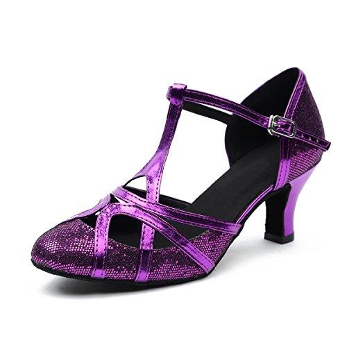 Minitoo - Zapatillas de danza de sintético para mujer Purple-6cm Heel