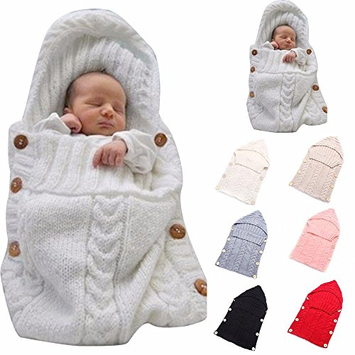 Newborn Baby Wrap Swaddle Blanket, Kids Wool Knit Swaddle Kids Sleeping Bag Stroller Wrap Sleep Sacks (Pink)