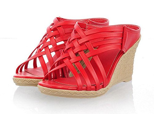 Slopes Sandals Heel Pumps Women's GLTER Yellow Red red Green Toe Slippers Peep Shoes Roman Beige qRHExxw1a