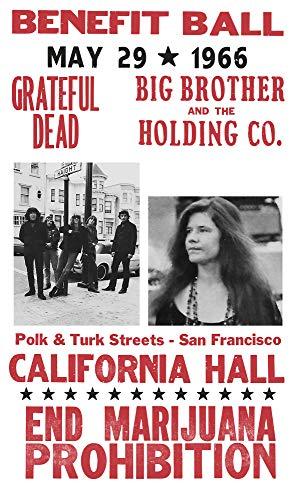 "Grateful Dead - Janis Joplin - End Marijuana Prohibition - California Hall 13""x22"" Vintage Style Showprint Poster - Concert Bill - Home Nostalgia Decor Wall Art Print"