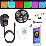 Led strip lights TOPMAX Bluetooth Smartphone Controlled Strip Light Kit RGB 16.4ft/5m 150leds 5050 Non-Waterproof LED Lights with 12V 3A Power Supply Working with Android and IOS System