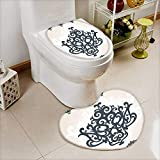 L-QN 2 Piece Shower Toilet mat Eastern Islamic Motif Arabic Effects Filigree Swirled Artsy Print Pearl Grey Washable Non-Slip