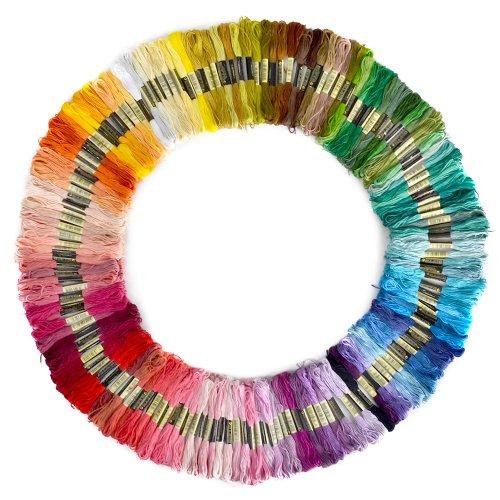 150 Docken Sticktwist Stickgarn 8m 6/faedig Multicolor farblich bunt Basteln Set