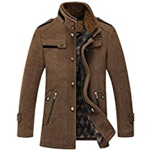 Cozy Age Mens Stand Collar Wool-Blend Pea Coat Winter Coat lined Jacket