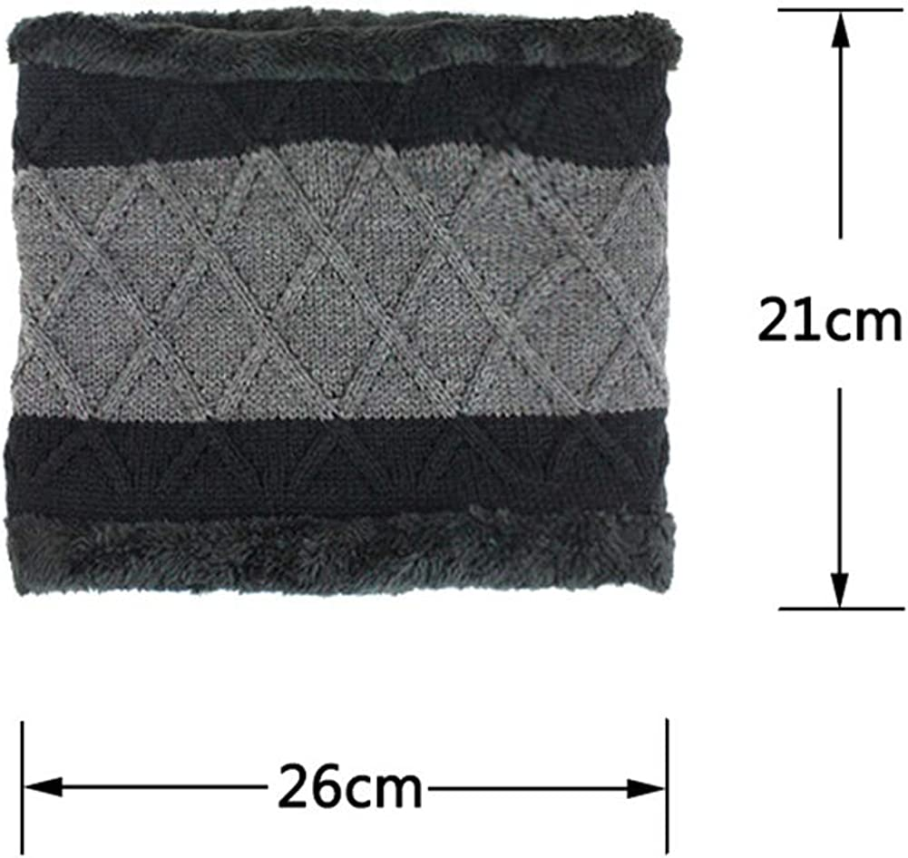Mens 2 Piece Beanie Warm Knit Thick Fleece Lined Winter Snow Hat /& Scarf Set