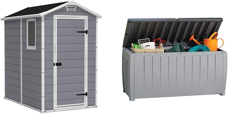 KETER Manor 4x6 Resin Outdoor Storage Shed Kit, Grey & White & Novel 90 Gallon Resin Deck Box-Organization and Storage for Patio Furniture Outdoor Cushions, Throw Pillows, Grey/Black