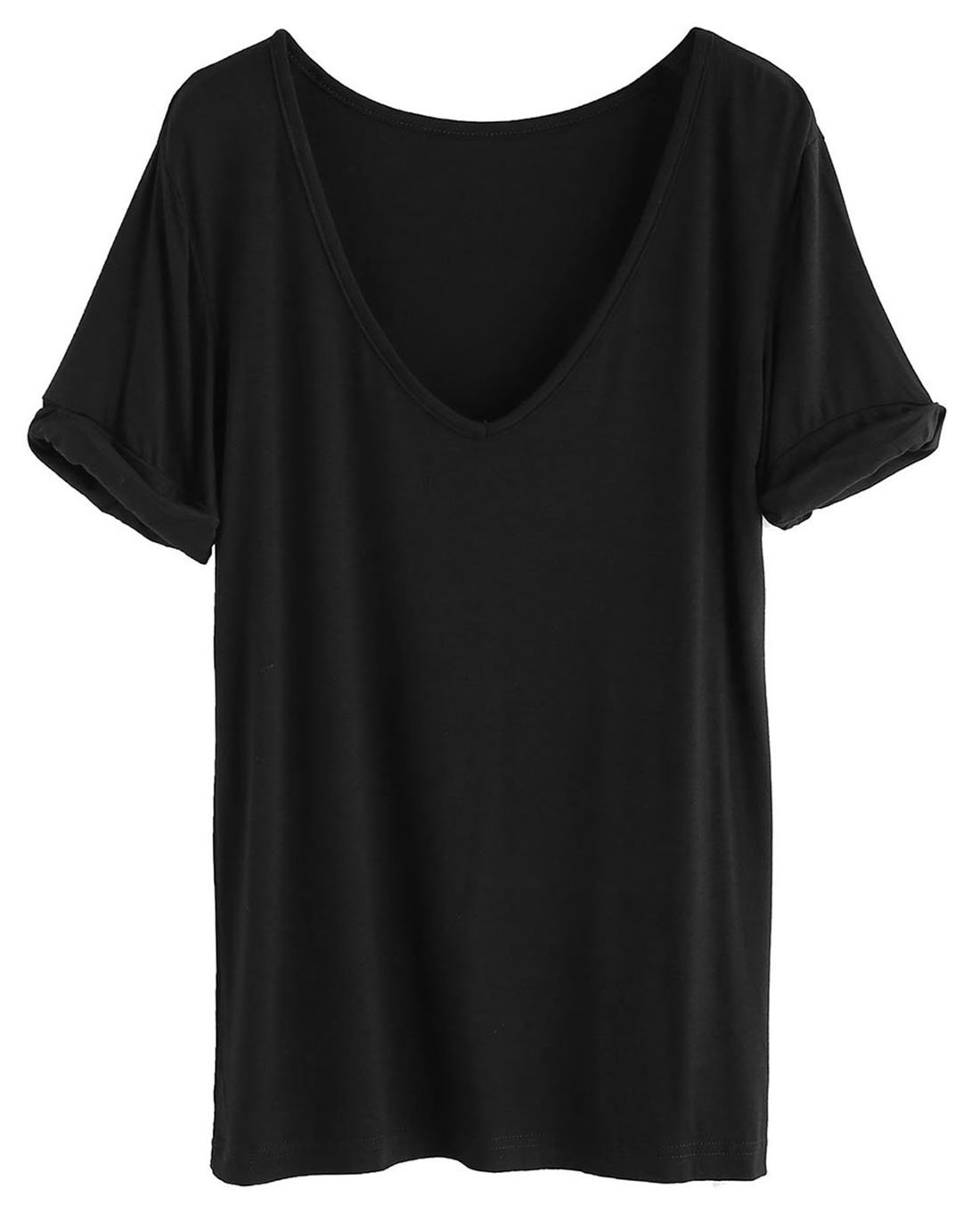 SheIn Women's Summer Short Sleeve Loose Casual Tee T-Shirt Black# Large
