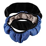 (BLACK)Car Auto Universal leather diy Elastic Handmade Skidproof Steering Wheel Cover Blue/Black