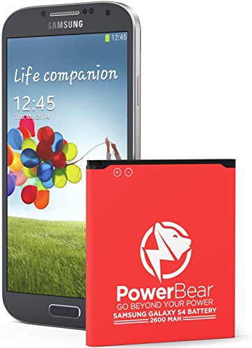 PowerBear Samsung Galaxy S4 Battery (2,600 mAh) Li-Ion Battery for the Galaxy S4 [I9500, I9505 LTE, I545 (Verizon), M919 (Tmobile), I337 (AT&T), L720 (Sprint)] | S4 Spare Battery [24 Month Warranty]
