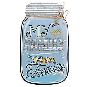 "Barnyard Designs Rustic My Family is My Treasure Mason Jar Decorative Wood and Metal Wall Sign Vintage Country Decor 14""x 9"" 30"