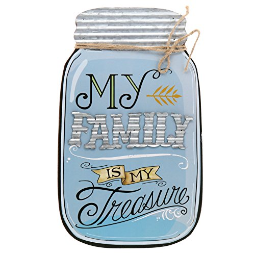 Barnyard Designs Rustic My Family is My Treasure Mason Jar Decorative Wood and Metal Wall Sign Vintage Country Decor 14