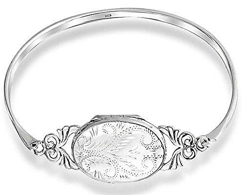 (Vintage Style Etched Oval Keepsake Locket Bangle Bracelet For Women 925 Sterling Silver)
