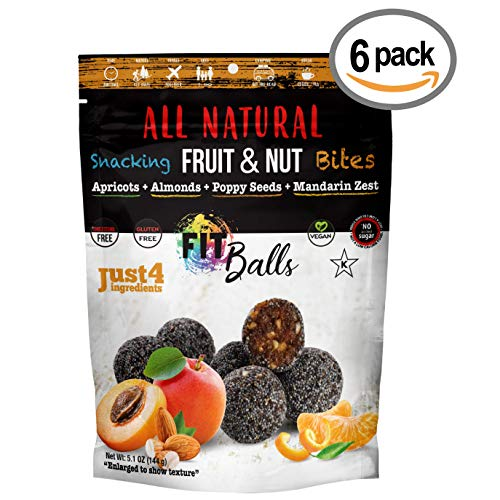 FitBalls Snacks - Apricots, Almonds, Poppy Seeds & Mandarin Zest - JUST 4 Ingredients - (6 Bags In the Box) ()