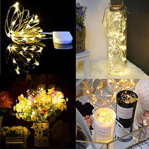 HAOSEE 24 Pack Led Fairy Lights Battery Operated,3.3Ft 20 LED Silver Wire Warm White Firefly Lights,Waterproof Mini Starry String Lights Twinkle Lights for Wedding Party Mason Jars DIY Christmas Decor by HAOSEE (Image #7)
