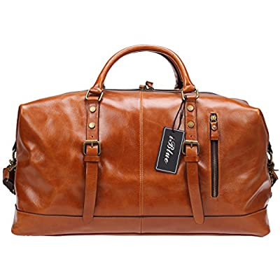 outlet Iblue Genuine Leather Overnight Weekender Duffel Bag Large Carry On Travel Luggage Gym Totes Bag #B001(XL 21'', brown)