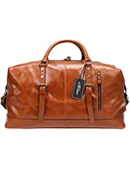 Iblue Genuine Leather Overnight Weekender Duffel Bag Large Carry On Travel Luggage Gym Totes Bag #B001(XL 21...