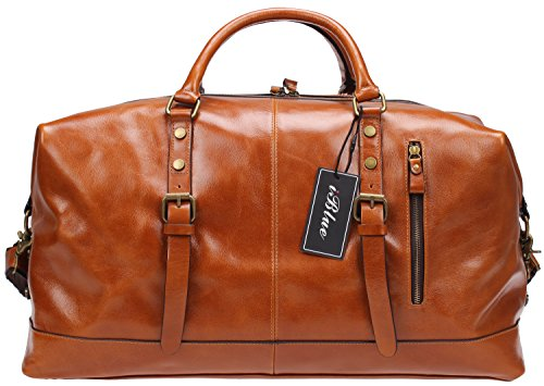 Iblue Genuine Leather Overnight Weekender Duffel Bag Large Carry On Travel Luggage Gym Totes Bag #B001(XL 21'', brown) by iblue