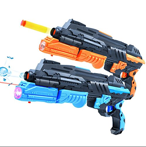 - LEFN Double Shooting Toy Guns,Super Cool 2-In-1 1PCS Soft Bullet and 1000PCS Soak Crystal Bullet Toy Handgun,Foam Dart Detective Pistol Toy for Kids Holiday Birthday Presents,Foam fighting toy