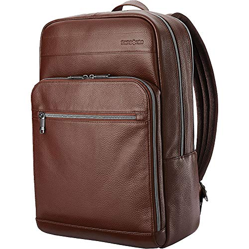 Samsonite Leather Slim Laptop Backpack (Chestnut)