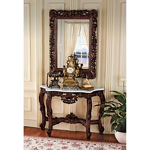 Design Toscano The Royal Baroque Mirror and Marble Topped Console Table