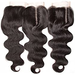 """Nadula Brazilian Body Wave Remy Virgin Human Hair Lace Closure 4""""x4"""" Inch Free Part Natural Color (14"""")"""