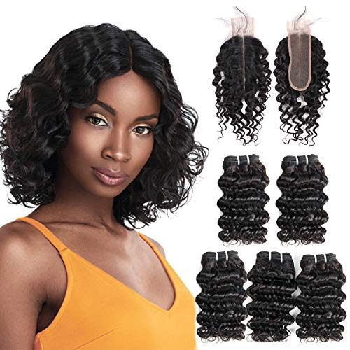 FASHION LINE Brazilian Deep Wave With Lace Closure Deep Middle Part 2X6 Curly Human Hair Bundles With Closure Unprocessed Virgin Hair Extensions Natural Black(8/8/8/8/8 With 2x6 Closure)