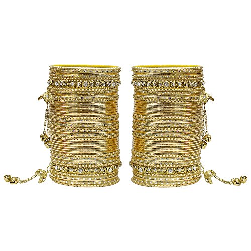 MUCH-MORE 86 Bangles Set of Multi Colour Amazing Collection of Latkhan Bangles Set (Golden, 2.8) ()