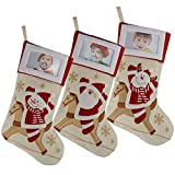 WEWILL Creative Christamas Stockings with Photo Frame Holder, Featuring Reindeer Snowman Santa,Red,Large, 16 Inch, Set of 3(5)