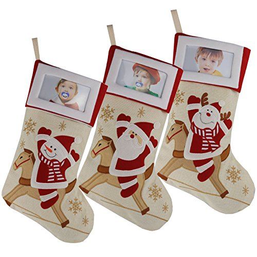 Picture Frame Pet Stocking (Wewill Creative Christamas Stockings with Photo Frame Holder, Featuring Reindeer Snowman Santa,Red,Large, 16 Inch, Set of 3(5))