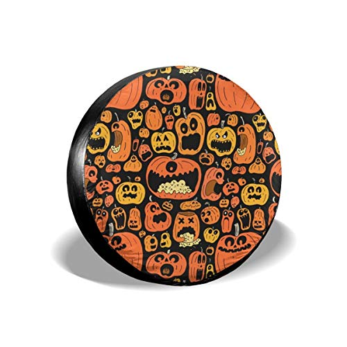 YANGJS Funny Halloween Calabazas Waterproof Dust-Proof Tire Cover Universal Fit Spare Wheel Tyre Covers for Truck and Many Vehicle Accessories (14,15,16,17 Inch)]()