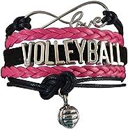 Volleyball Charm Bracelet - Infinity Love Adjustable Charm Bracelet with Volleyball Charm for Her