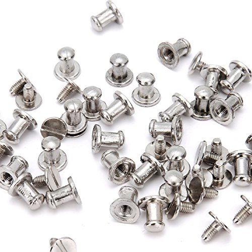 RUBYCA 50 Sets Silver Color Button Spike and Studs Metal Screw-Back Leather-craft DIY 8MM X - Belt Finish Silver