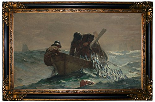 Winslow Homer The Herring Net - Gold & Black Gallery Framed Canvas Print Repro 24.25 x 37.25 - 1932 Gold Framed Print