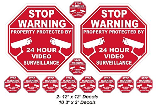 12 Pcs Inspiring Unique Stop Warning Property Protected by 24 Hour Video Surveillance Window Stickers Sign Being Watched Home Decal Security Decor Under Cameras Protect Hr 2-Large 10-Small (Large Cctv Monitor)