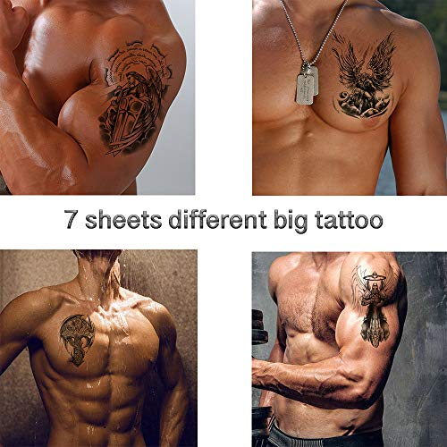 Temporary Tattoo for Men - 7sheets Body Stickers Arm Shoulder Chest Angel Wings Cross Warrior inkbox - Tattoo Temporary Angel