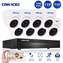OWSOO 16CH CIF CCTV Surveillance DVR Security System HDMI P2P Cloud Network Digital Video Recorder with 8x 800TVL Indoor Infrared Dome Camera, Support IR-CUT Night Vision Plug and Play - White