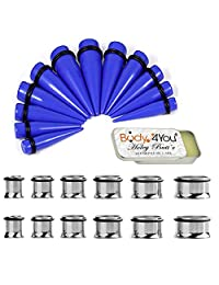 BodyJ4You 25PC Big Gauges Kit Ear Stretching Aftercare Balm 00G-20mm Surgical Steel Tunnel Plug Taper